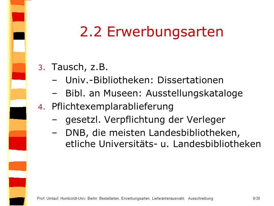 2.2 Erwerbungsarten Tausch, z.B. Univ.-Bibliotheken: Dissertationen