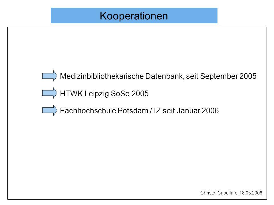 Kooperationen Medizinbibliothekarische Datenbank, seit September 2005