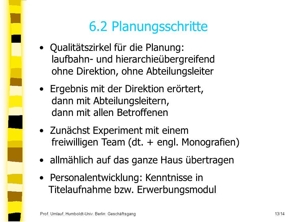 6.2 Planungsschritte Qualitätszirkel für die Planung: laufbahn- und hierarchieübergreifend ohne Direktion, ohne Abteilungsleiter.