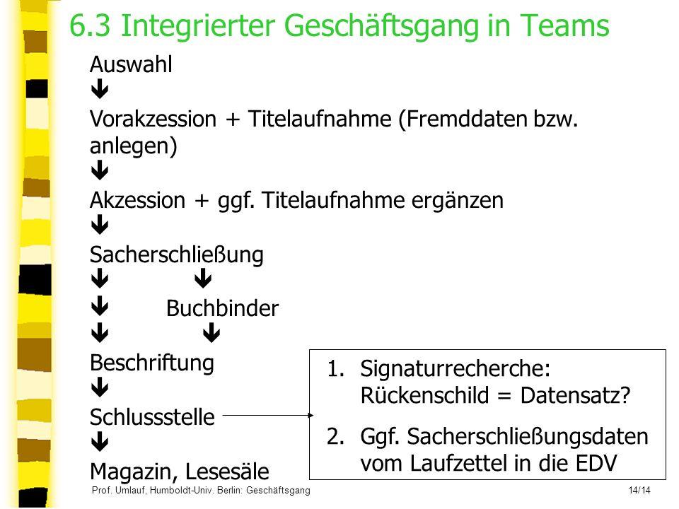 6.3 Integrierter Geschäftsgang in Teams