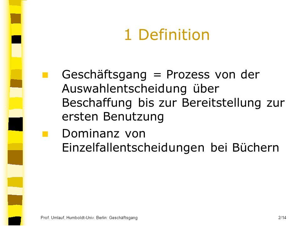 1 Definition Geschäftsgang = Prozess von der Auswahlentscheidung über Beschaffung bis zur Bereitstellung zur ersten Benutzung.