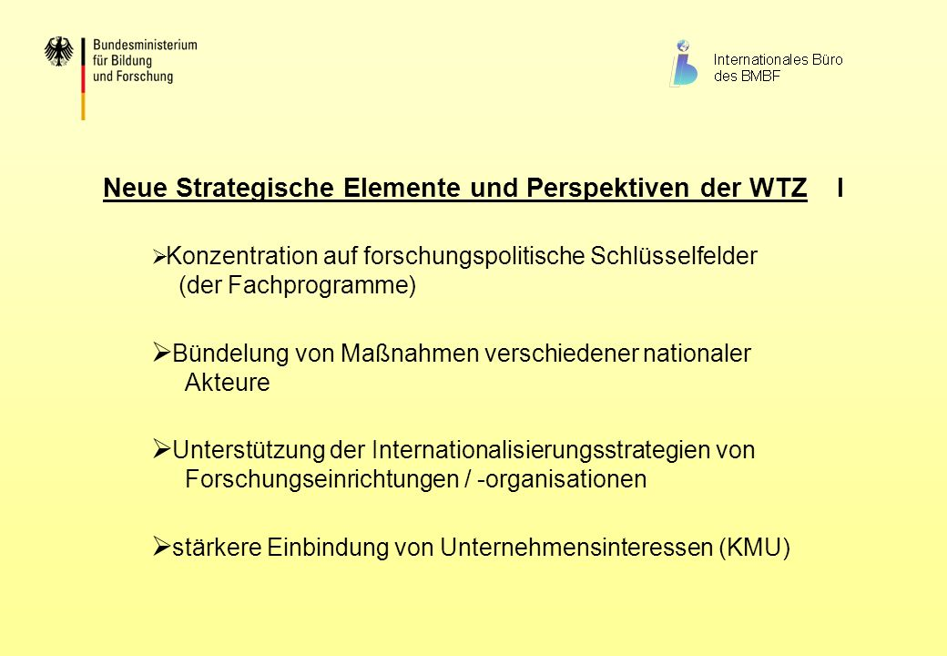 Neue Strategische Elemente und Perspektiven der WTZ I