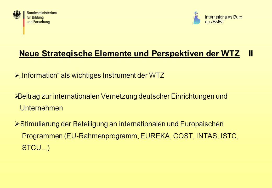 Neue Strategische Elemente und Perspektiven der WTZ II