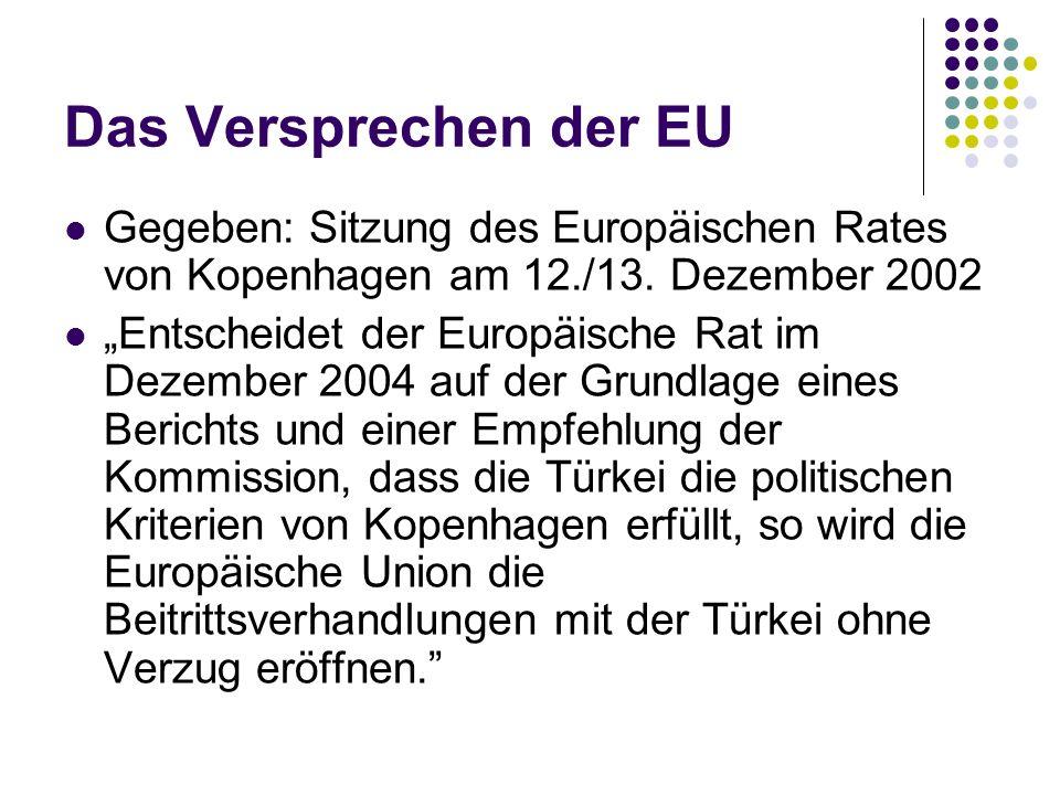 Das Versprechen der EU Gegeben: Sitzung des Europäischen Rates von Kopenhagen am 12./13. Dezember 2002.