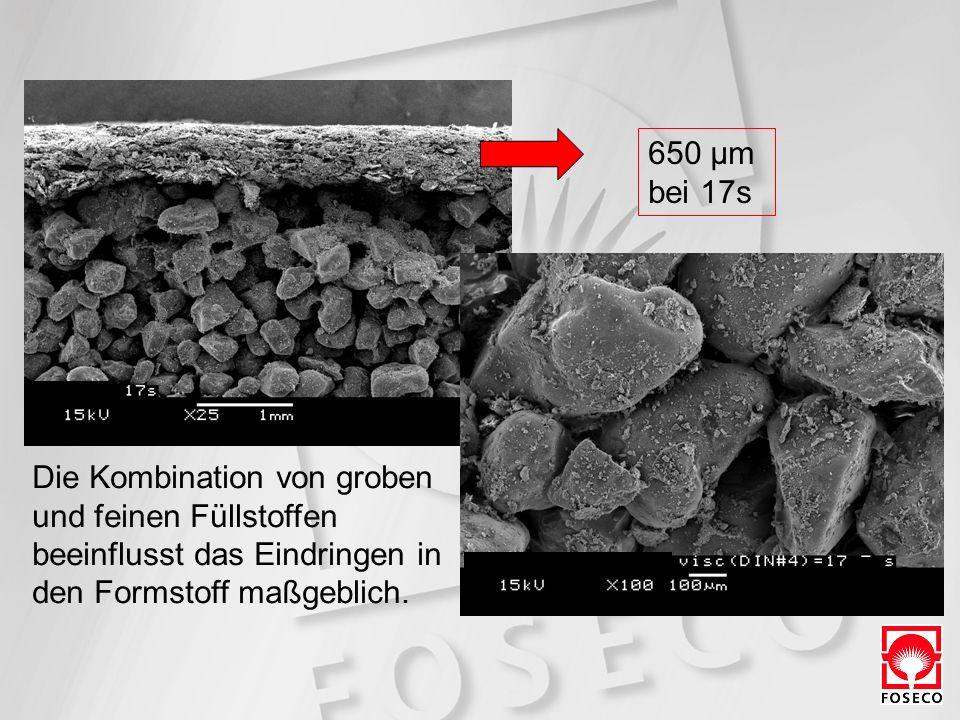 650 µm bei 17s. Die Kombination von groben. und feinen Füllstoffen. beeinflusst das Eindringen in.