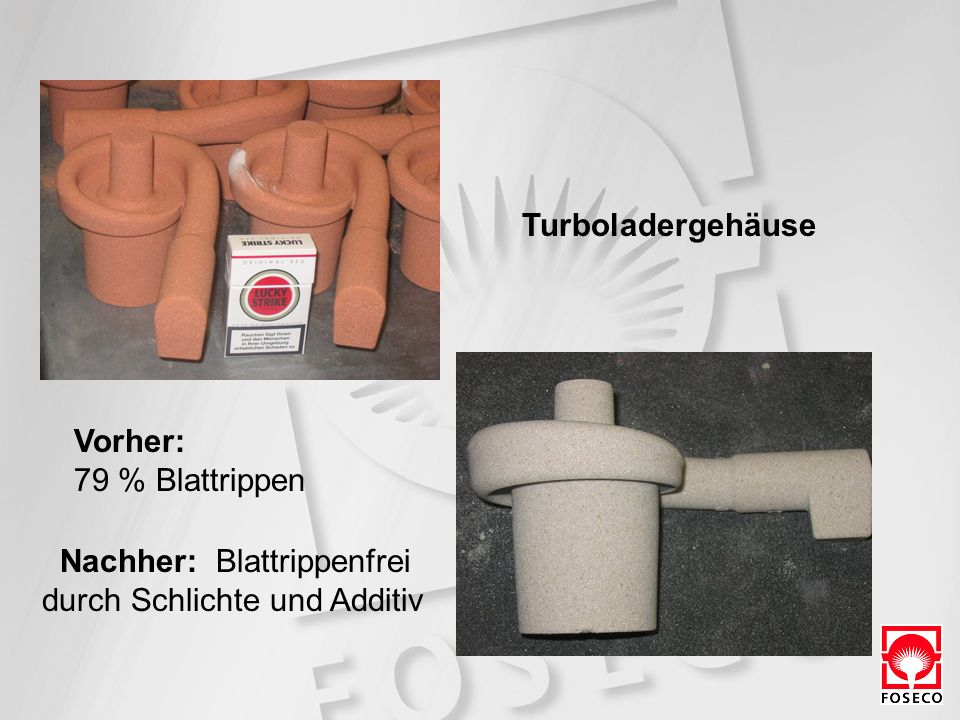 Turboladergehäuse Vorher: 79 % Blattrippen Nachher: Blattrippenfrei durch Schlichte und Additiv
