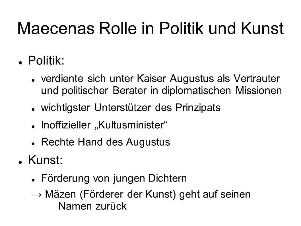 Maecenas Rolle in Politik und Kunst