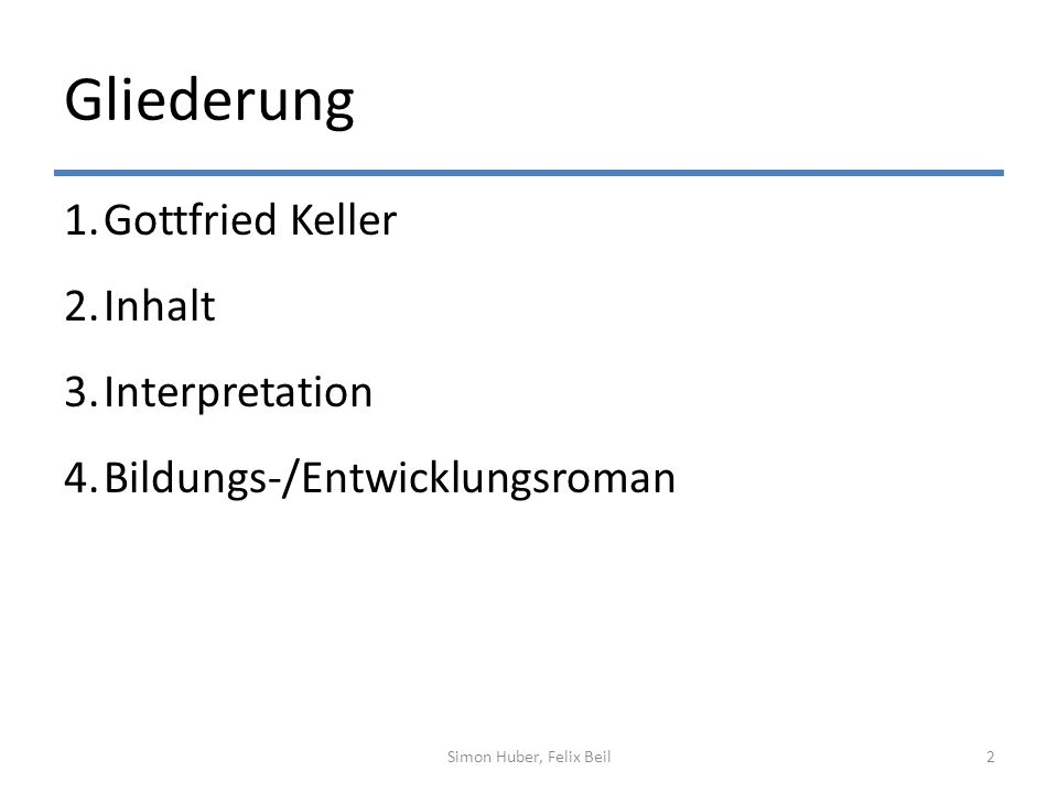 Gliederung Gottfried Keller Inhalt Interpretation