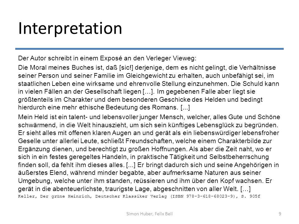 Interpretation Der Autor schreibt in einem Exposé an den Verleger Vieweg: