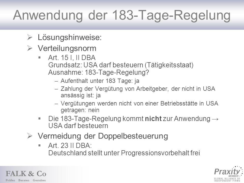 Anwendung der 183-Tage-Regelung