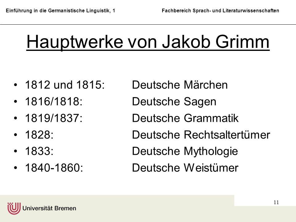 Hauptwerke von Jakob Grimm