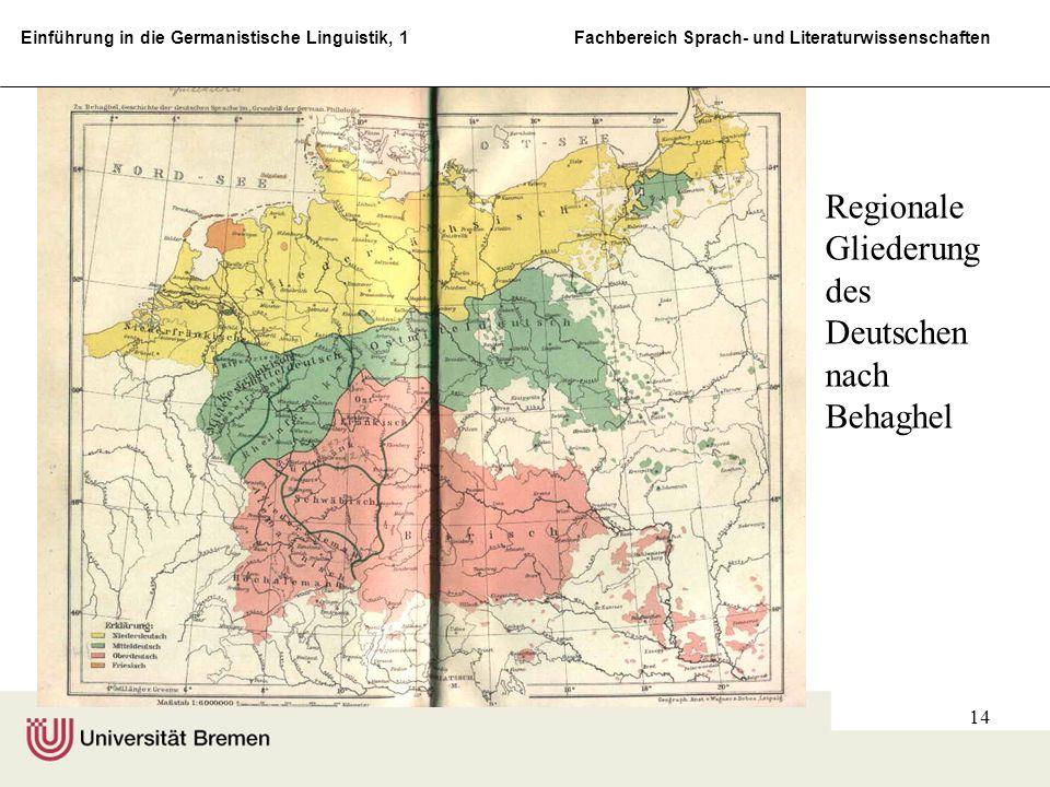 Regionale Gliederung des Deutschen nach Behaghel