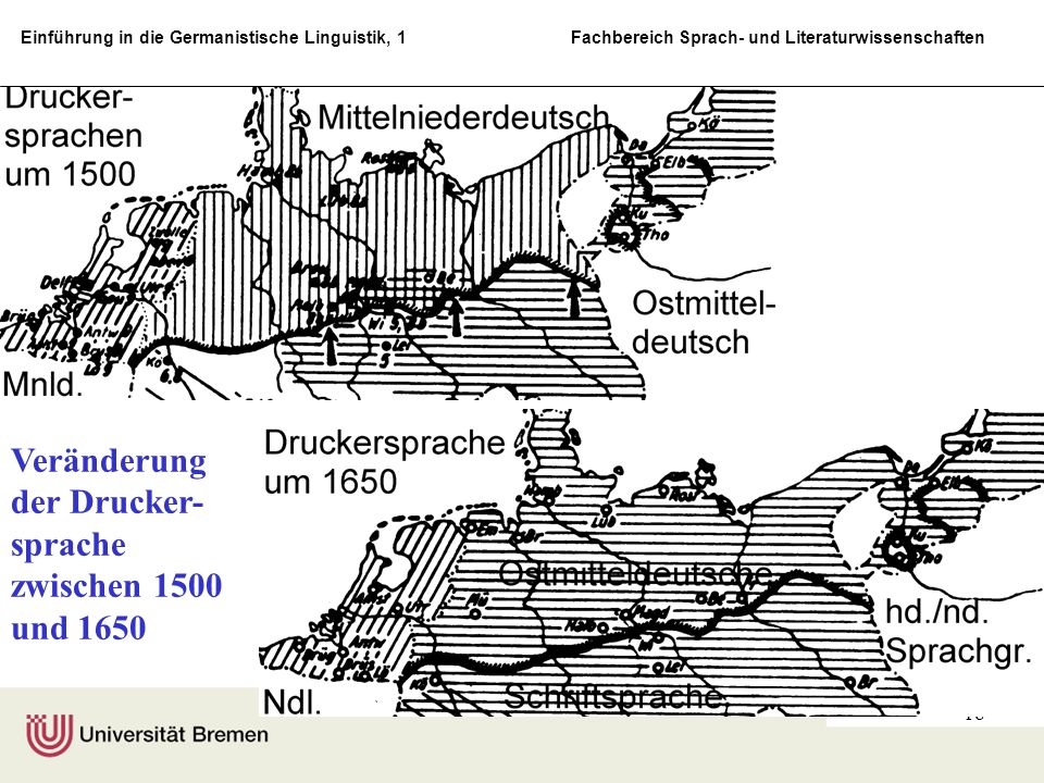 Veränderung der Drucker-sprache zwischen 1500 und 1650