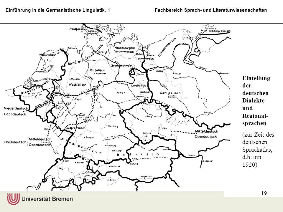 Einteilung der deutschen Dialekte und Regional-sprachen