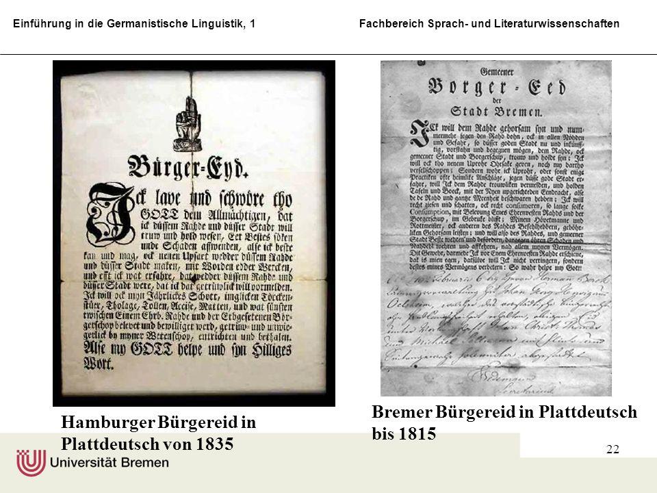 Bremer Bürgereid in Plattdeutsch bis 1815