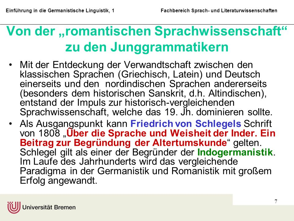 """Von der """"romantischen Sprachwissenschaft zu den Junggrammatikern"""