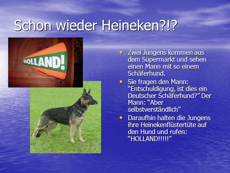 Schon wieder Heineken ! Zwei Jungens kommen aus dem Supermarkt und sehen einen Mann mit so einem Schäferhund.
