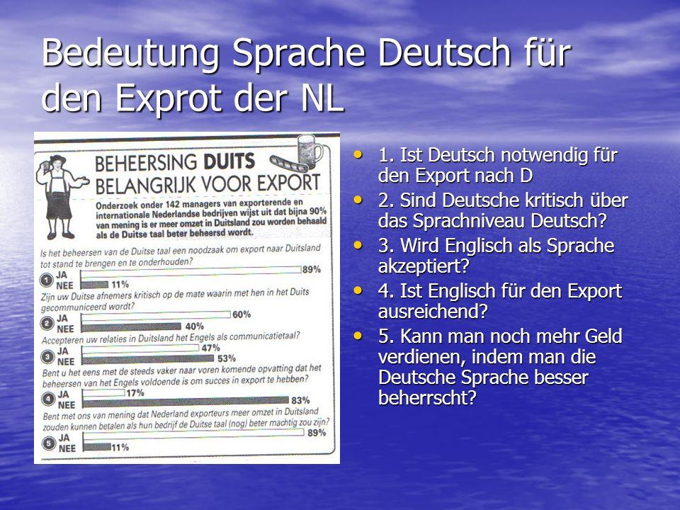 Bedeutung Sprache Deutsch für den Exprot der NL