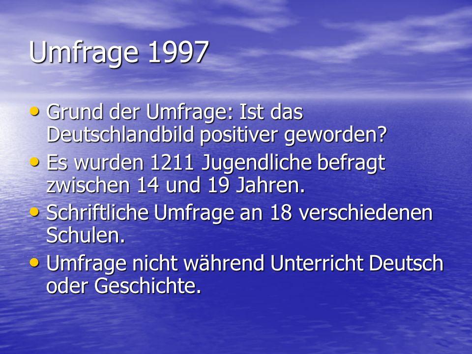 Umfrage 1997 Grund der Umfrage: Ist das Deutschlandbild positiver geworden Es wurden 1211 Jugendliche befragt zwischen 14 und 19 Jahren.