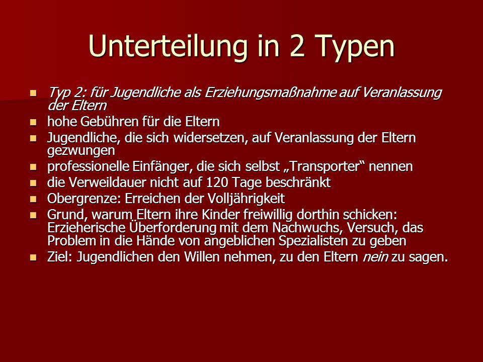 Unterteilung in 2 TypenTyp 2: für Jugendliche als Erziehungsmaßnahme auf Veranlassung der Eltern. hohe Gebühren für die Eltern.
