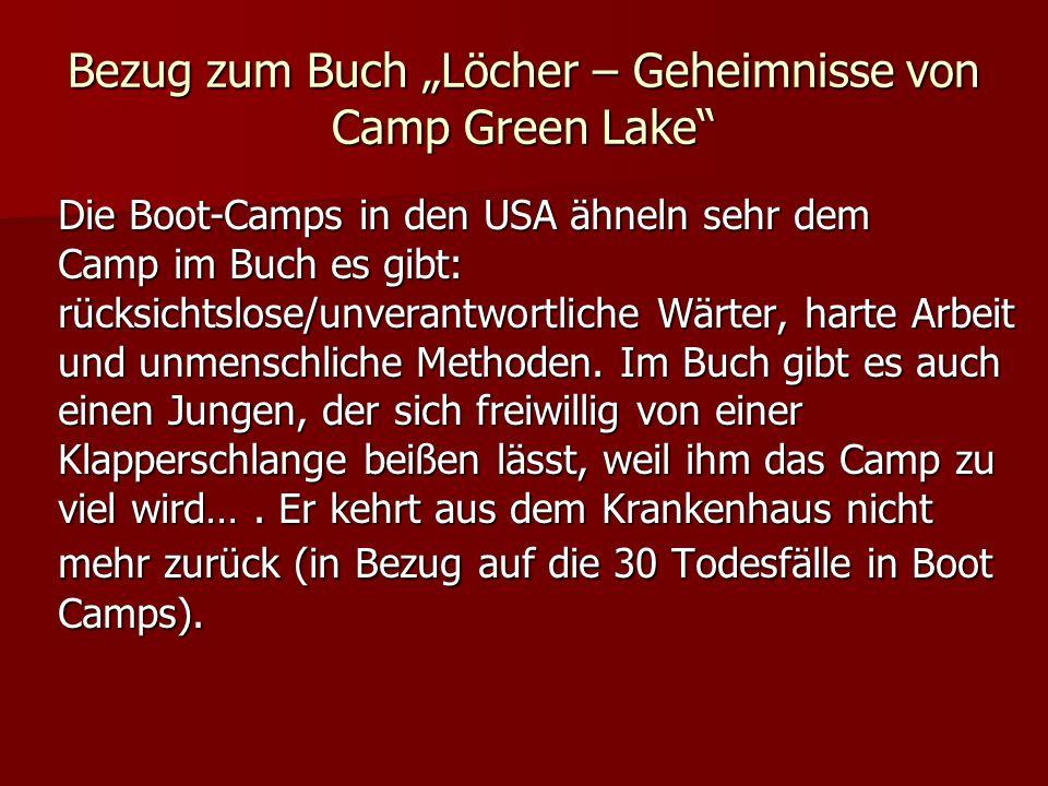 """Bezug zum Buch """"Löcher – Geheimnisse von Camp Green Lake"""