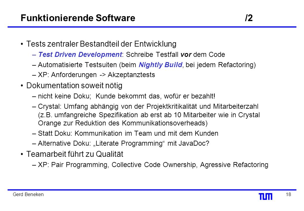 Funktionierende Software /2