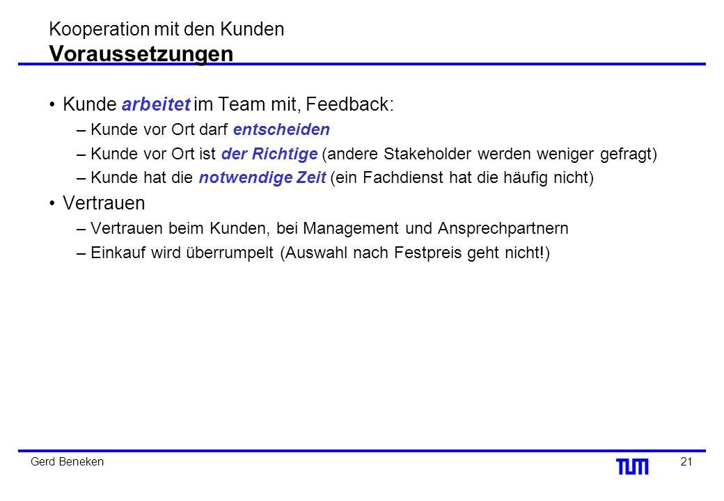 Kooperation mit den Kunden Voraussetzungen