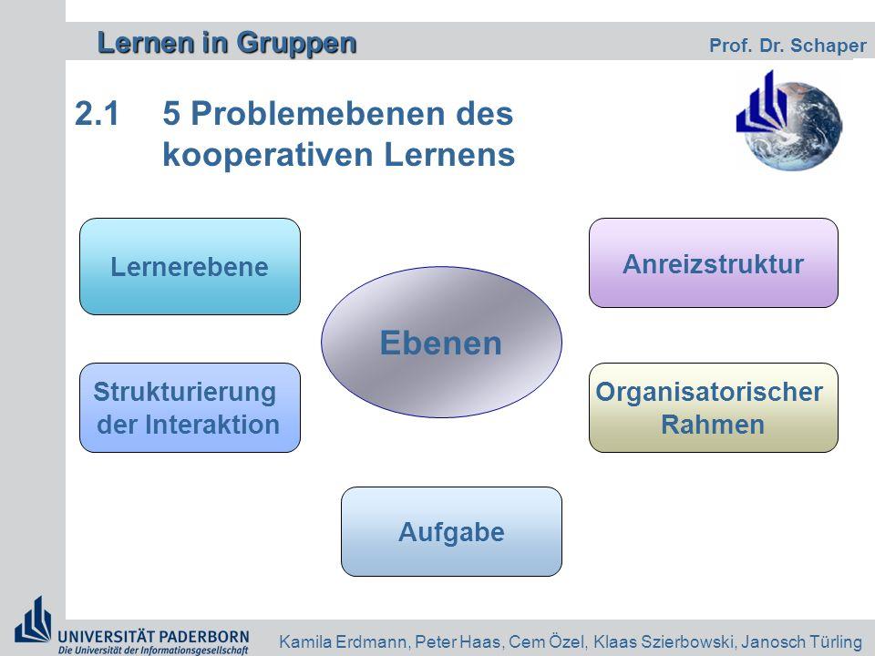 2.1 5 Problemebenen des kooperativen Lernens