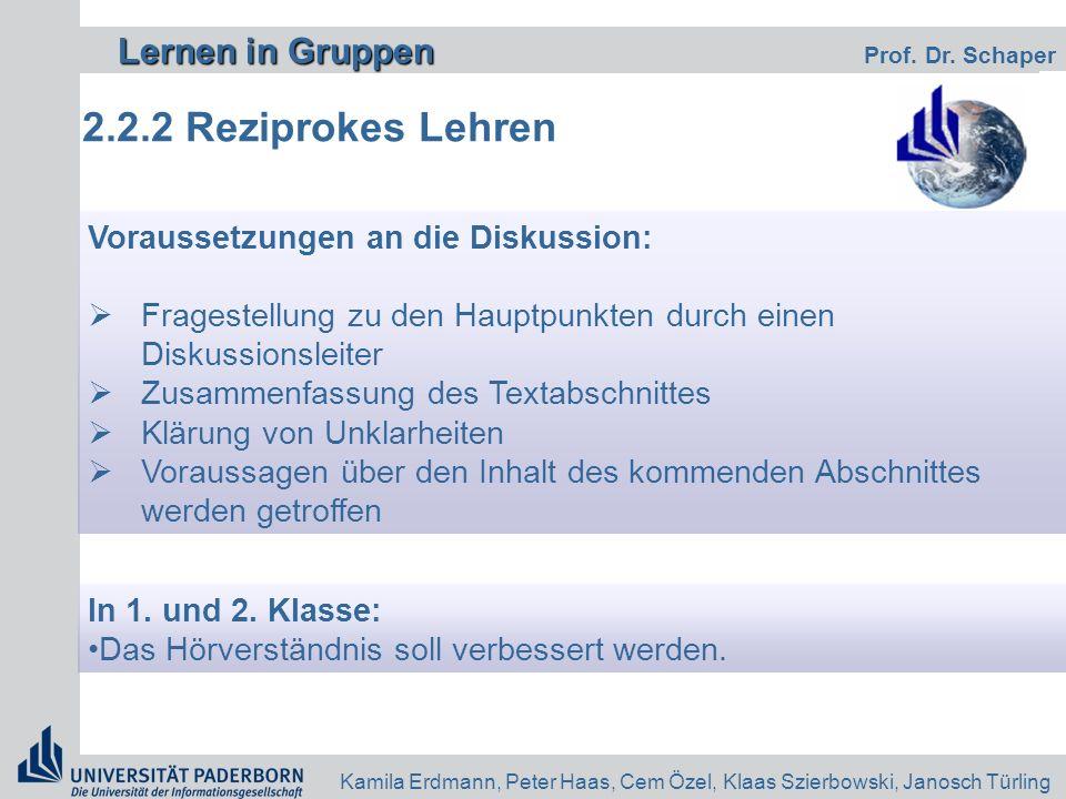 2.2.2 Reziprokes Lehren Voraussetzungen an die Diskussion:
