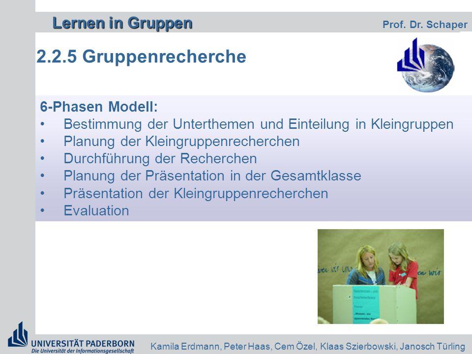 2.2.5 Gruppenrecherche 6-Phasen Modell: