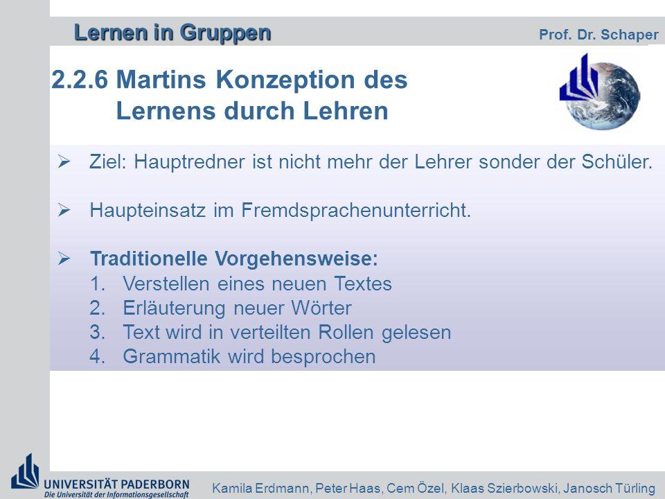 2.2.6 Martins Konzeption des Lernens durch Lehren