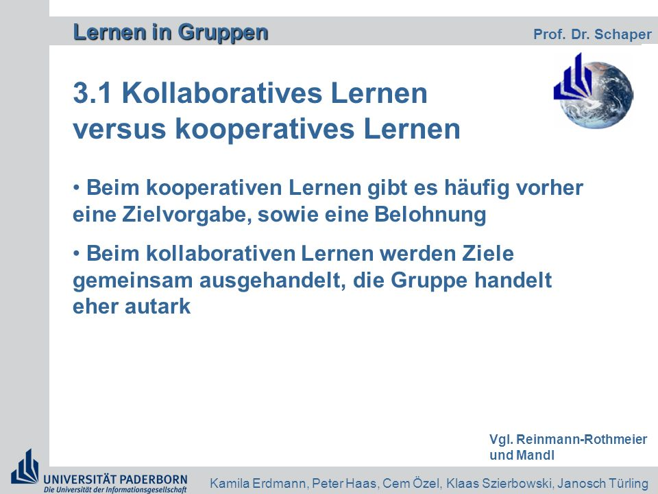 3.1 Kollaboratives Lernen versus kooperatives Lernen