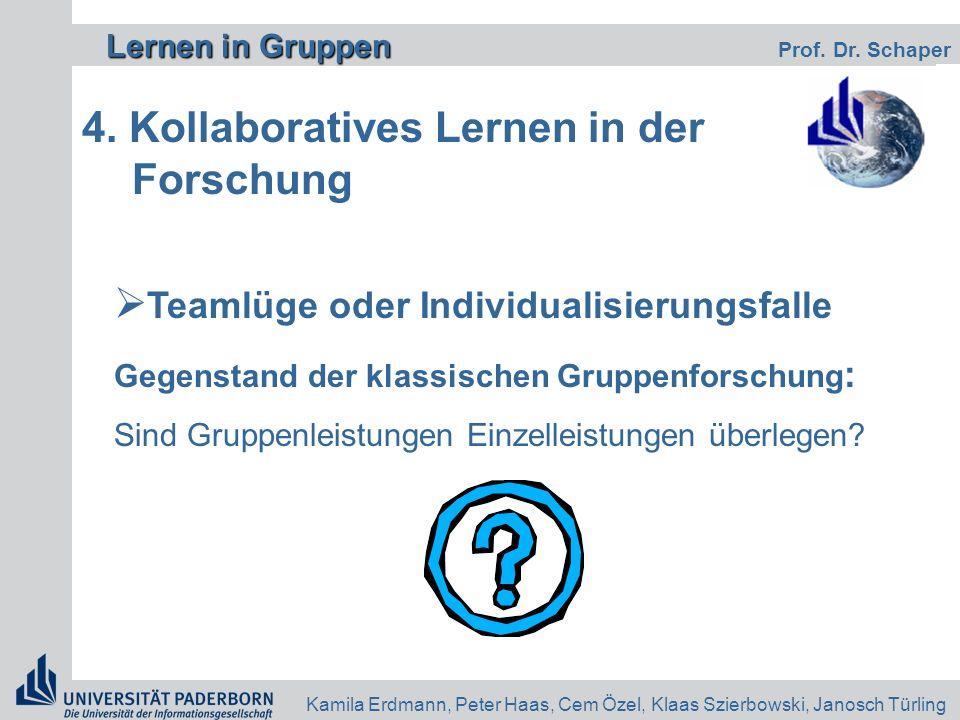 4. Kollaboratives Lernen in der Forschung