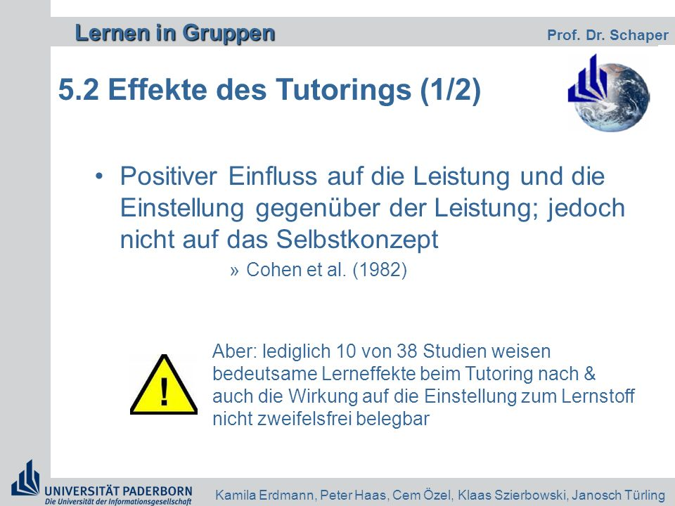 5.2 Effekte des Tutorings (1/2)