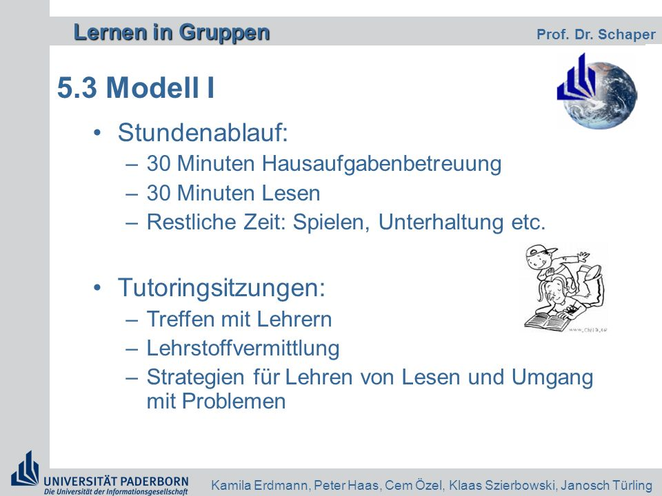 5.3 Modell I Stundenablauf: Tutoringsitzungen: