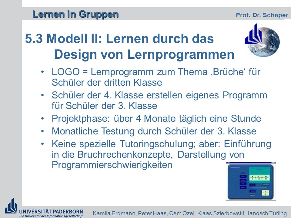 5.3 Modell II: Lernen durch das Design von Lernprogrammen