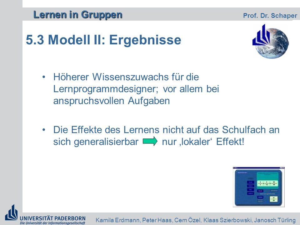5.3 Modell II: Ergebnisse Höherer Wissenszuwachs für die Lernprogrammdesigner; vor allem bei anspruchsvollen Aufgaben.
