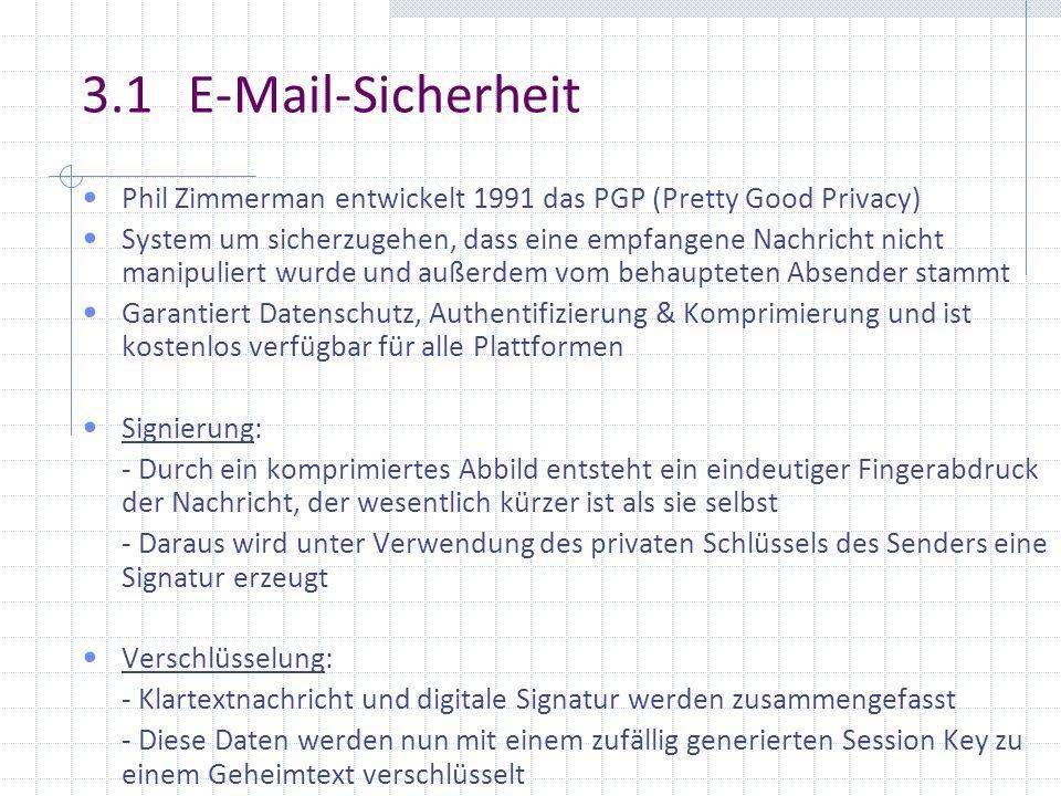 3.1 E-Mail-Sicherheit Phil Zimmerman entwickelt 1991 das PGP (Pretty Good Privacy)