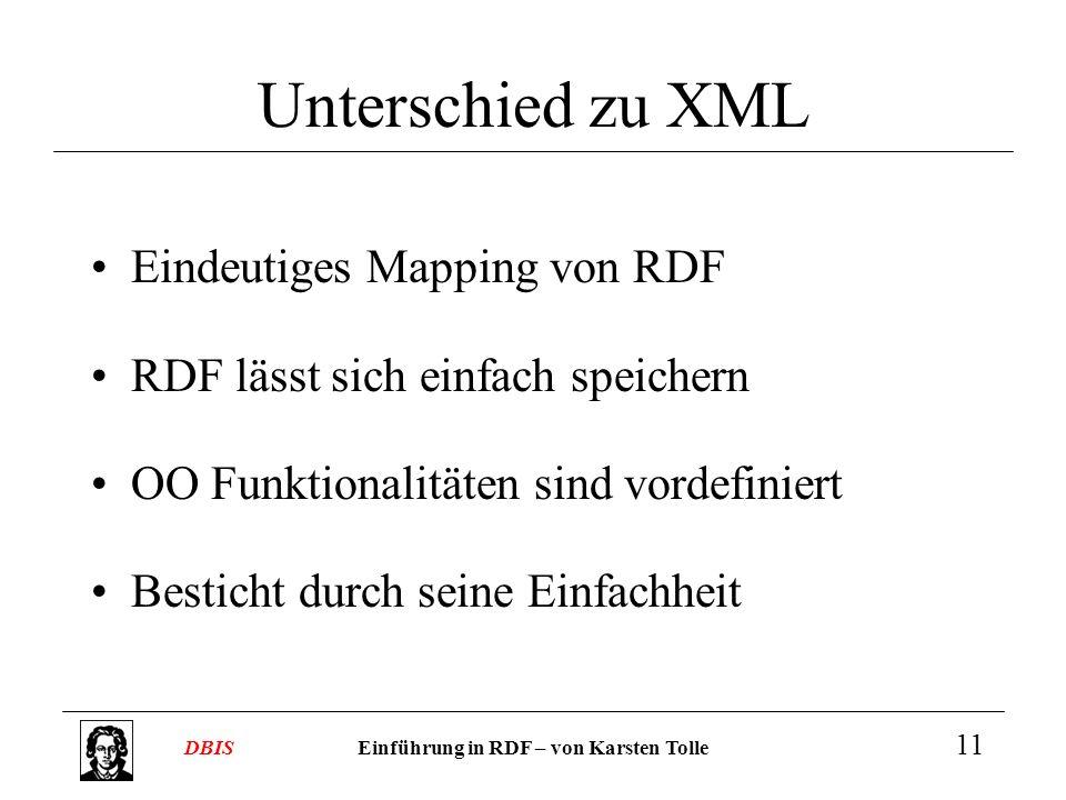 Unterschied zu XML Eindeutiges Mapping von RDF