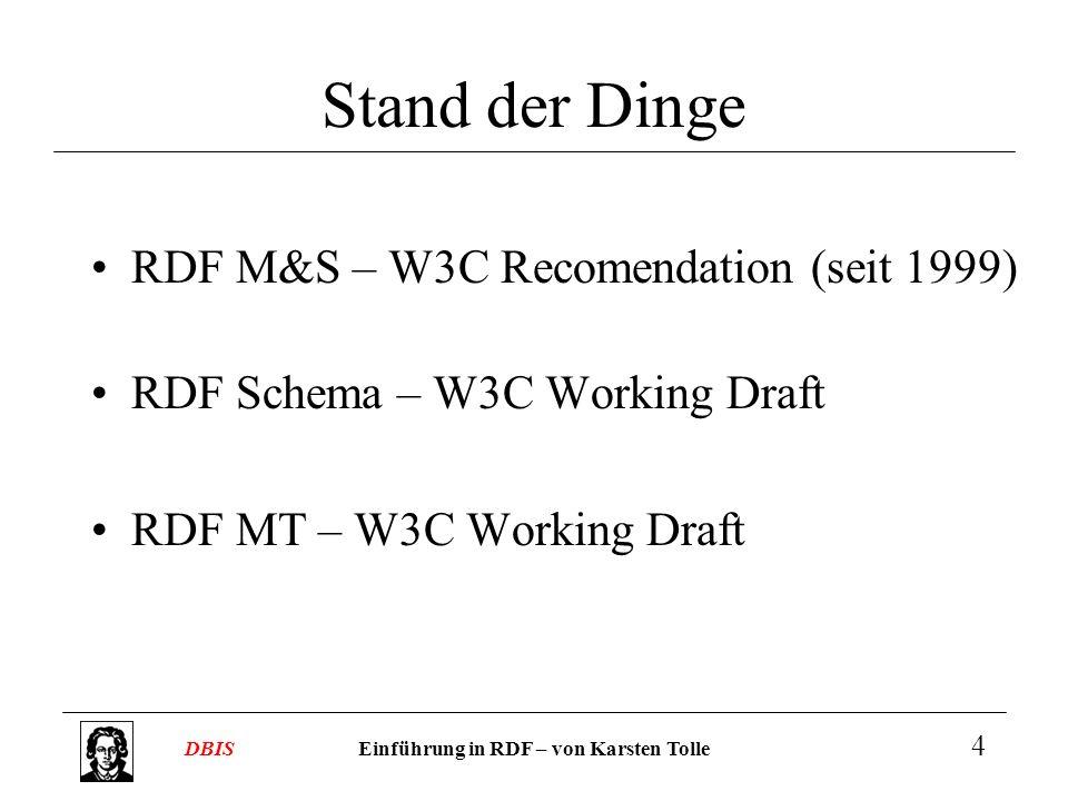 Stand der Dinge RDF M&S – W3C Recomendation (seit 1999)
