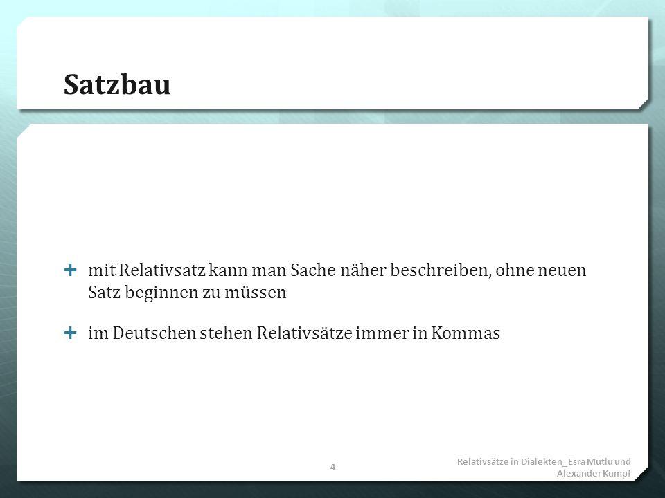 Satzbau mit Relativsatz kann man Sache näher beschreiben, ohne neuen Satz beginnen zu müssen. im Deutschen stehen Relativsätze immer in Kommas.