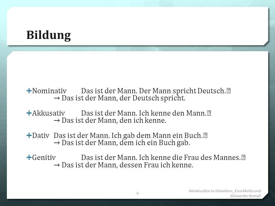 Bildung Nominativ Das ist der Mann. Der Mann spricht Deutsch. → Das ist der Mann, der Deutsch spricht.