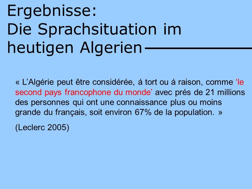 Die Sprachsituation im heutigen Algerien