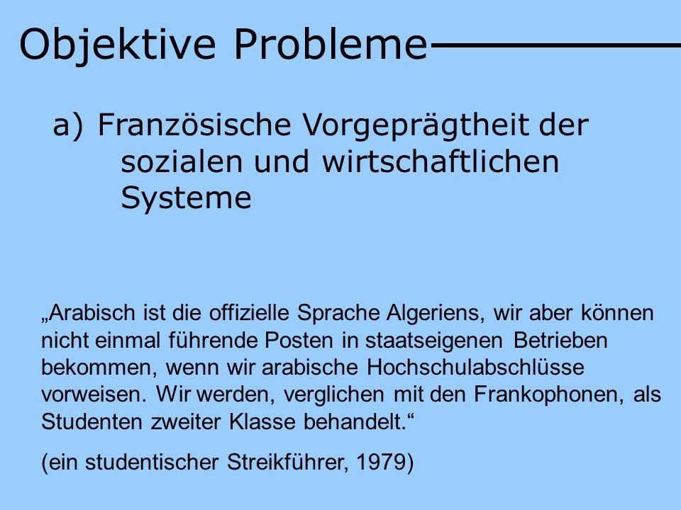 Objektive Probleme Französische Vorgeprägtheit der sozialen und wirtschaftlichen Systeme.