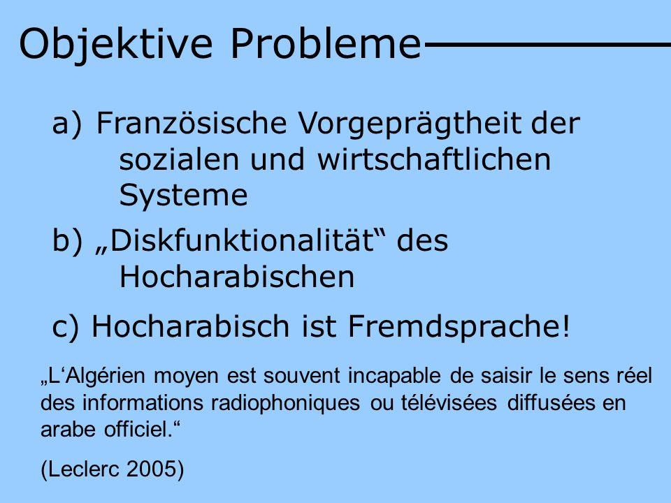 """Objektive ProblemeFranzösische Vorgeprägtheit der sozialen und wirtschaftlichen Systeme. """"Diskfunktionalität des Hocharabischen."""