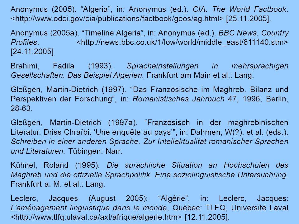 Anonymus (2005). Algeria , in: Anonymus (ed. ). CIA