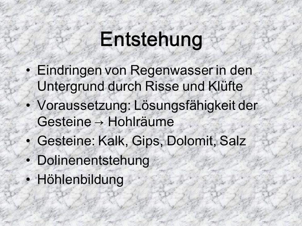 Entstehung Eindringen von Regenwasser in den Untergrund durch Risse und Klüfte. Voraussetzung: Lösungsfähigkeit der Gesteine → Hohlräume.
