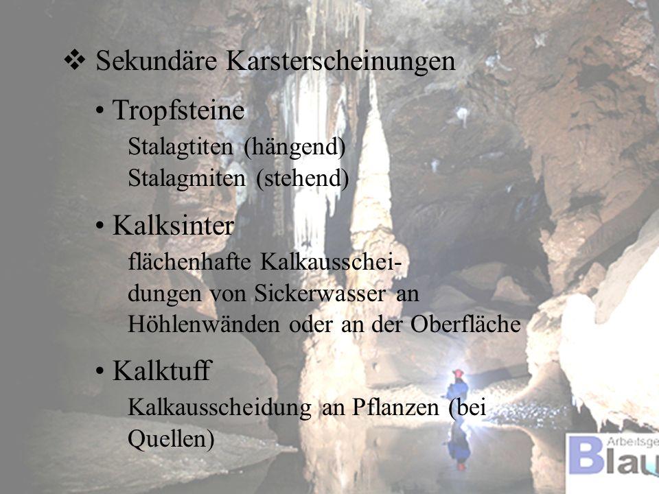 Sekundäre Karsterscheinungen Tropfsteine Stalagtiten (hängend)