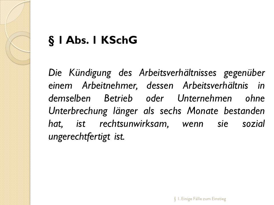 § 1 Abs. 1 KSchG