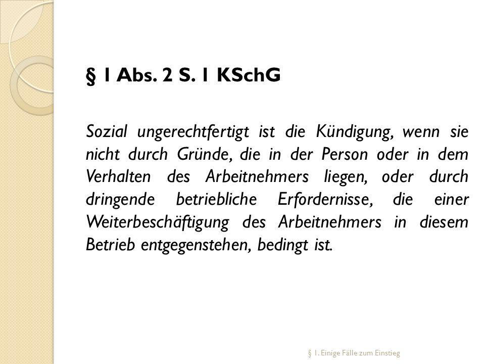 § 1 Abs. 2 S. 1 KSchG